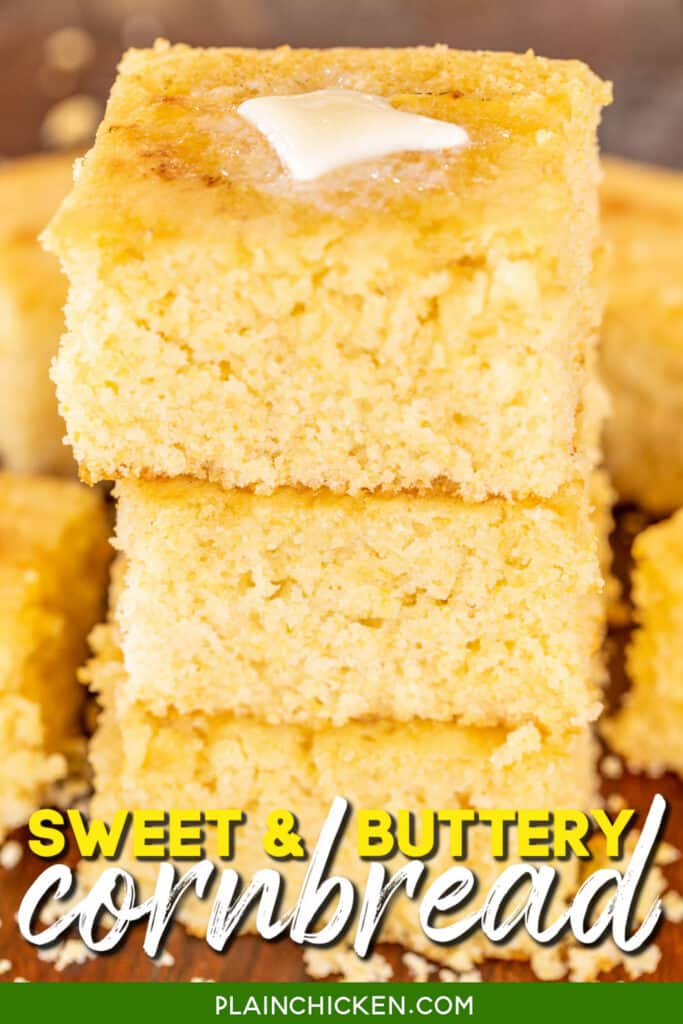 three slices of cornbread stacked on top of each other with butter