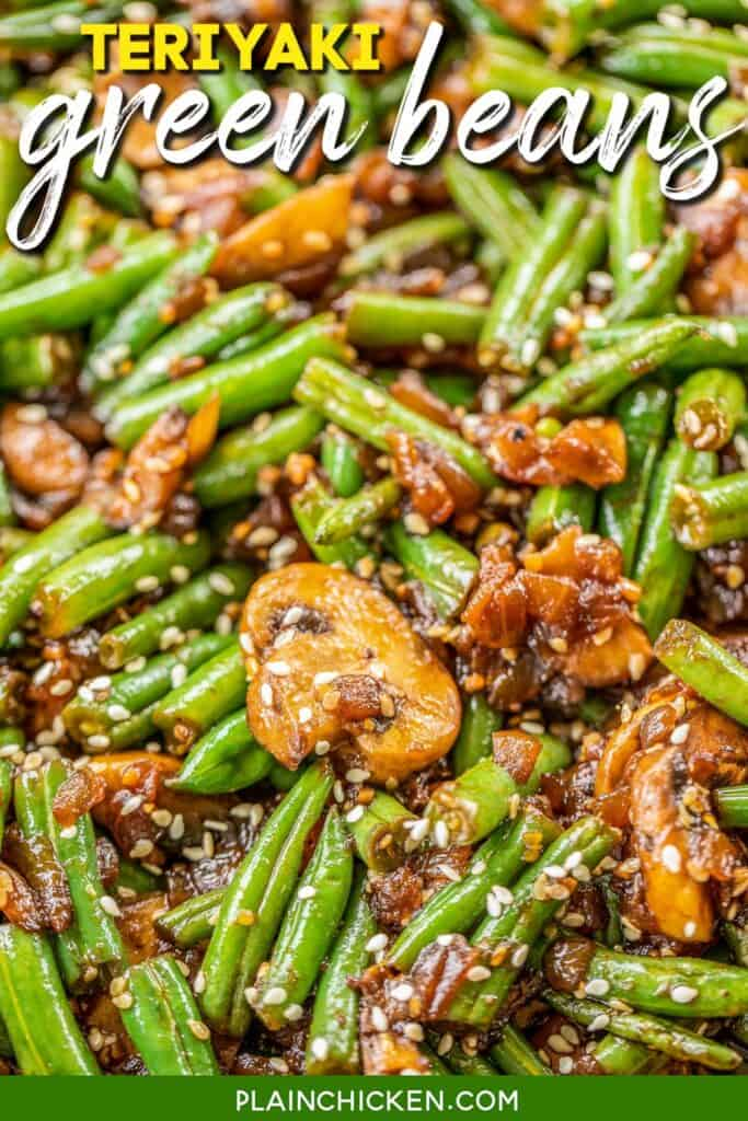 skillet of green beans & mushrooms