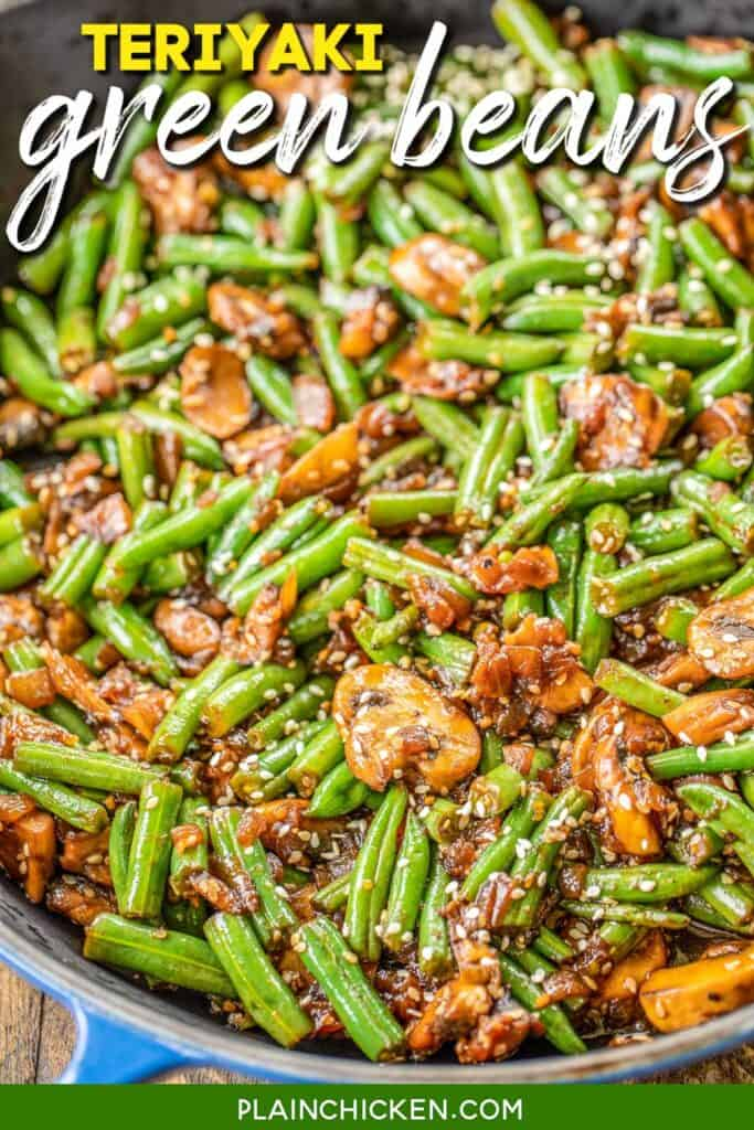 skillet of teriyaki green beans & mushrooms