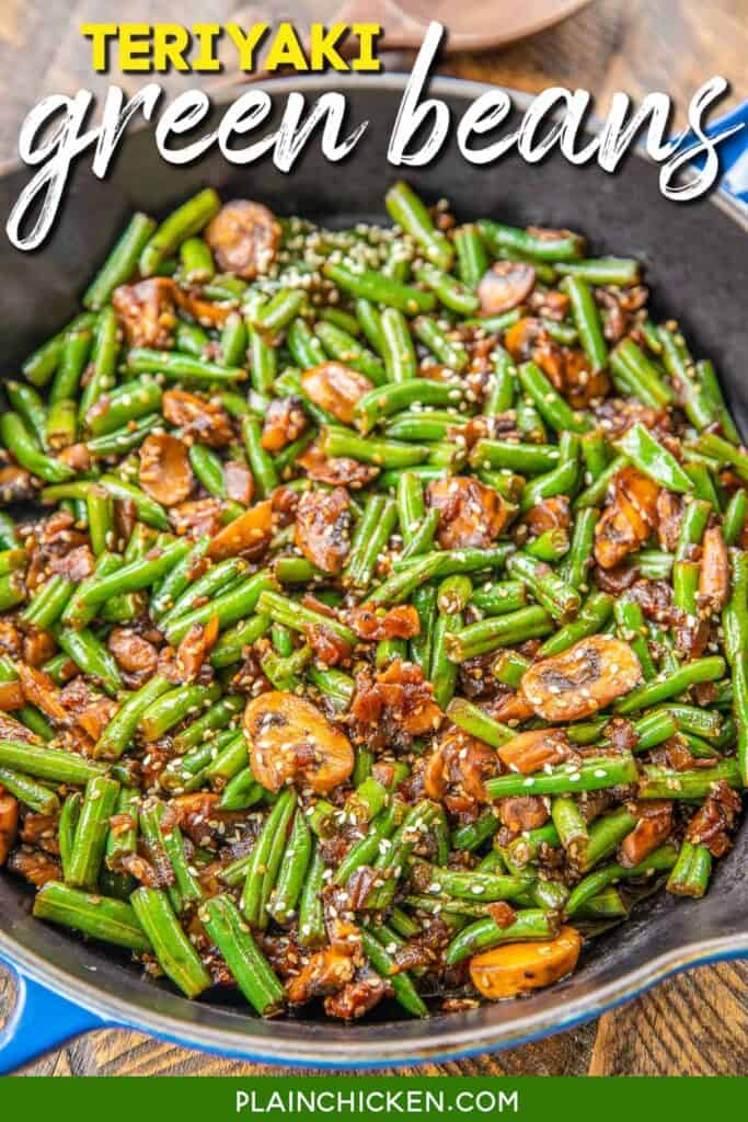 skillet of green beans, mushrooms & sesame seeds