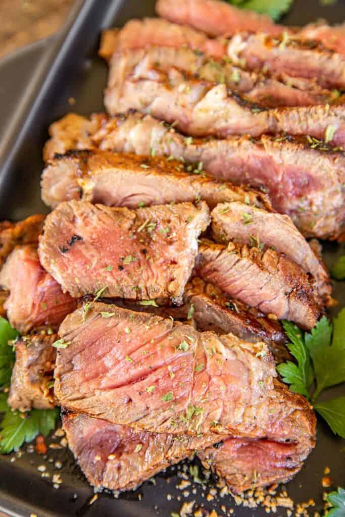 platter of sliced steak
