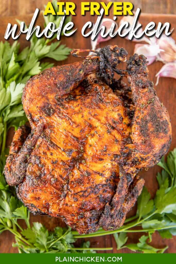 whole cooked chicken on cutting board