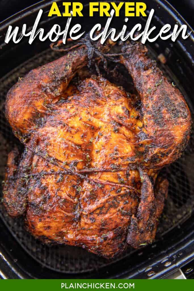 whole cooked chicken in air fryer basket