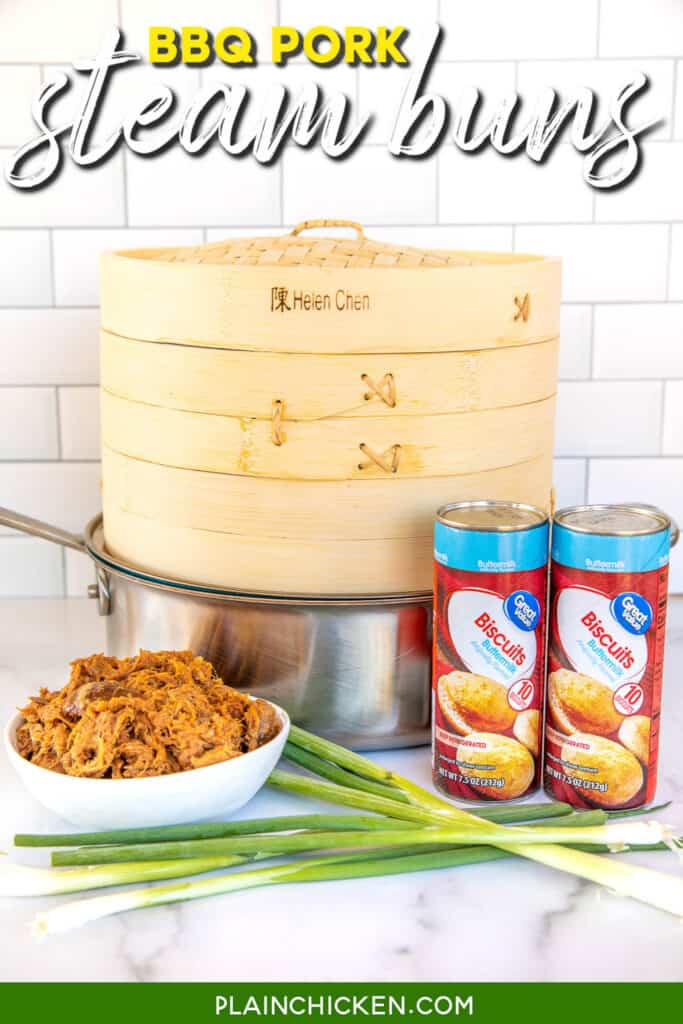 supplies to make steam buns - steamer, skillet, bbq pork, onions, and biscuits