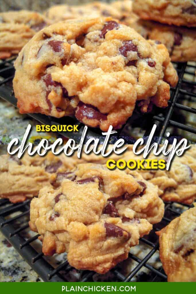 2 photos of chocolate chip cookies on a baking rack