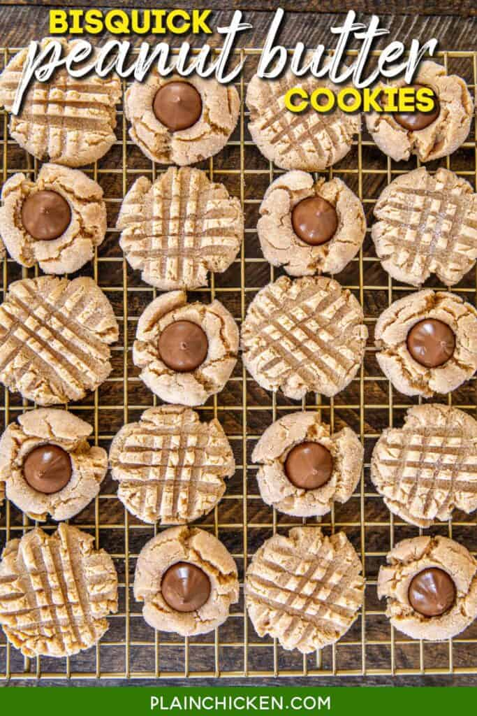 baking rack of peanut butter cookies