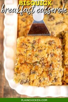 slice of breakfast casserole on a spatula