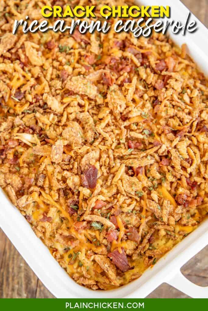baking dish of chicken bacon and rice casserole