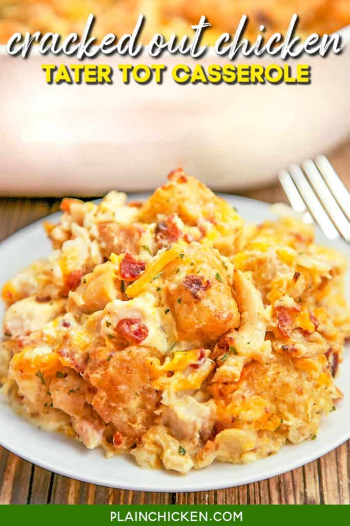 plate of chicken and bacon tater tot casserole