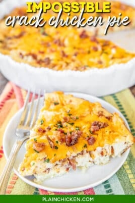 slice of chicken bacon & cheese pie