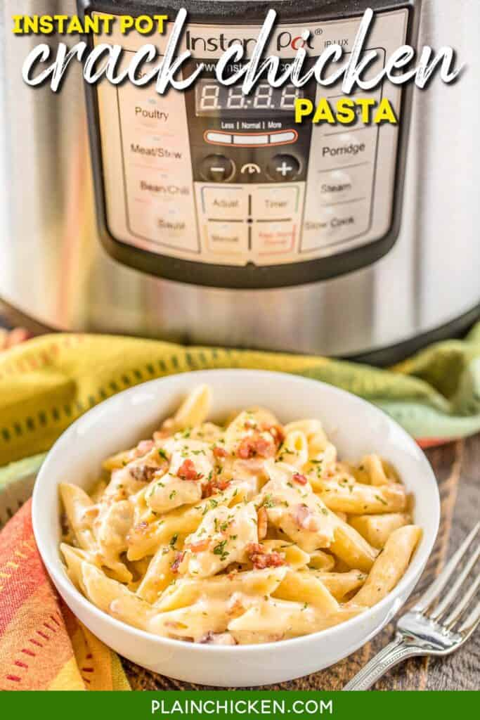 bowl of chicken bacon pasta with instant pot in the background