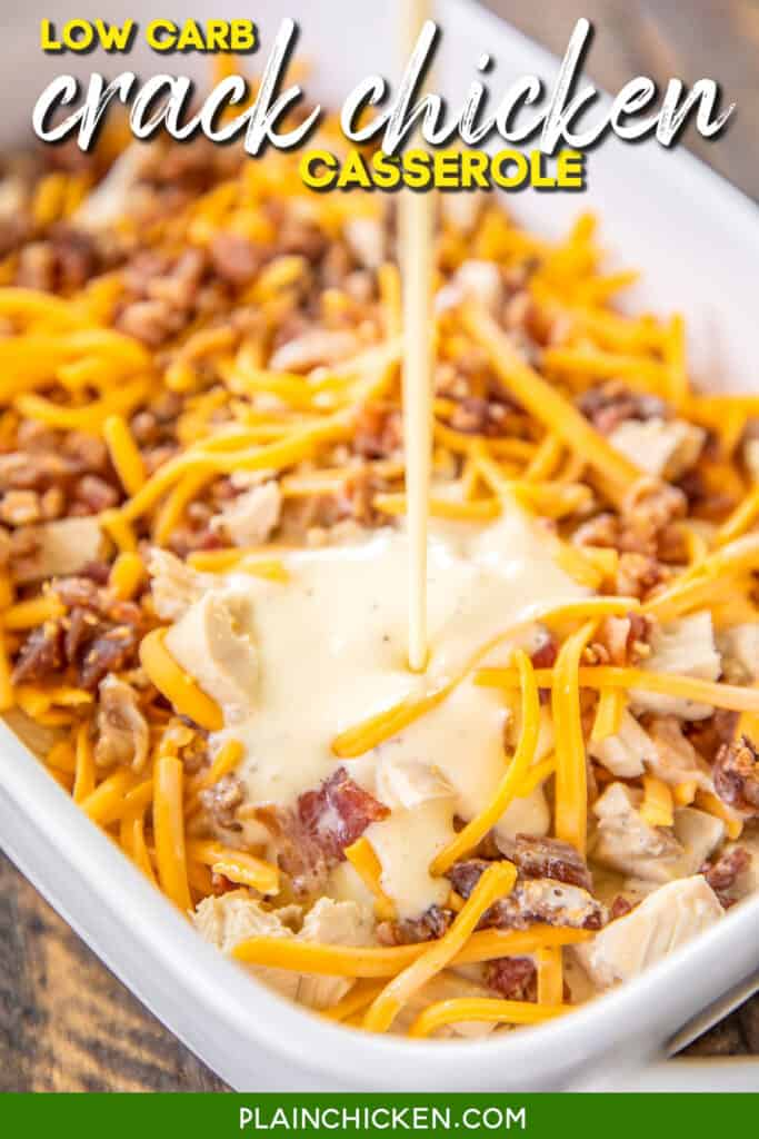 pouring egg custard over chicken, cheese, and bacon in a baking dish