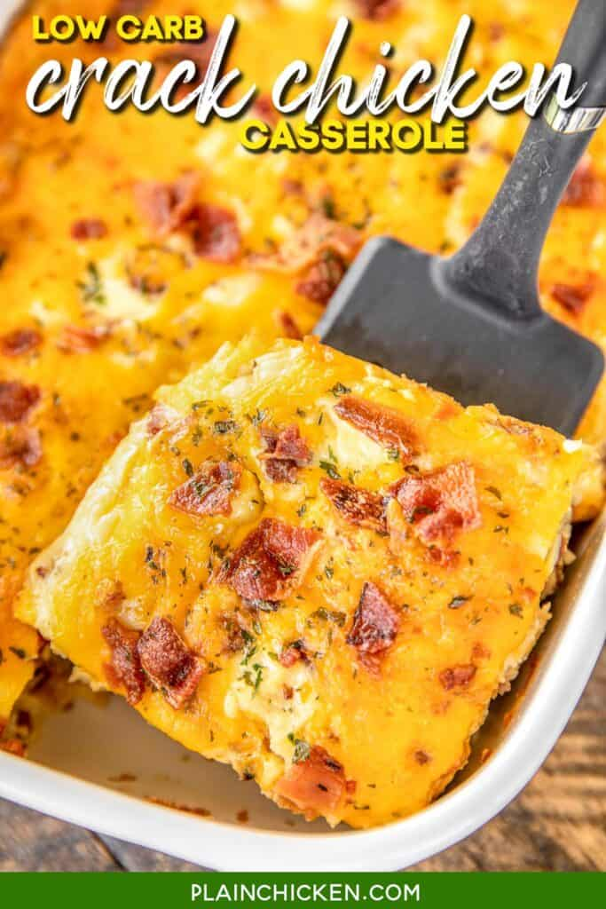 slice of chicken and bacon casserole on a spatula