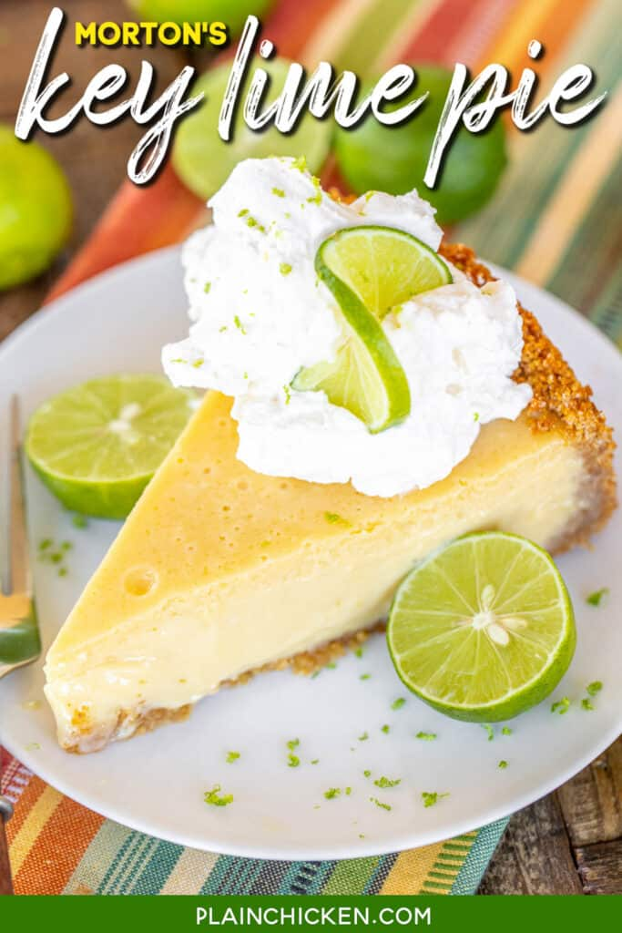 slice of key lime pie topped with whipped cream