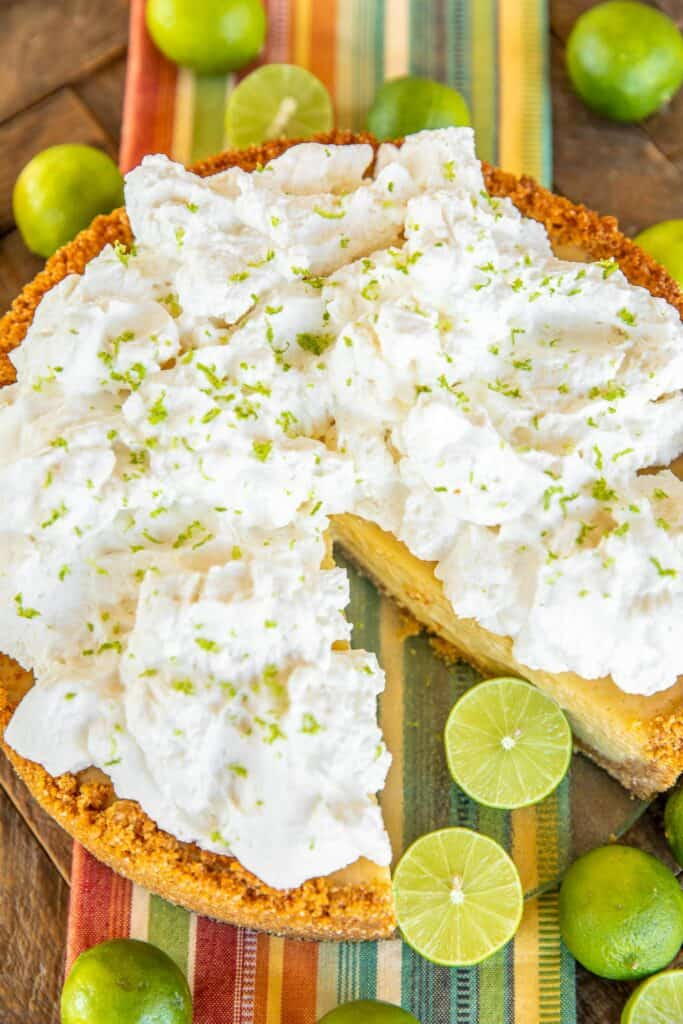 key lime pie topped with whipped cream