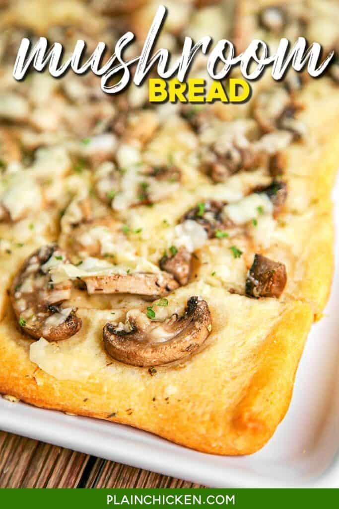 cheesy mushroom bread on a plate