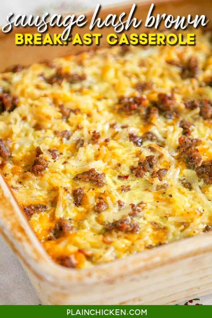 baking dish of sausage hash brown breakfast casserole