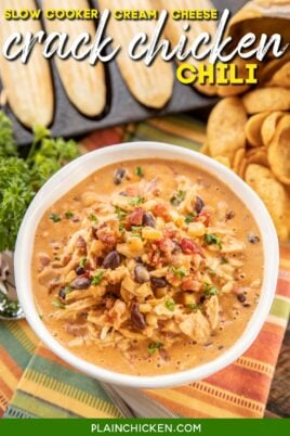 bowl of chicken chili with cornbread and fritos