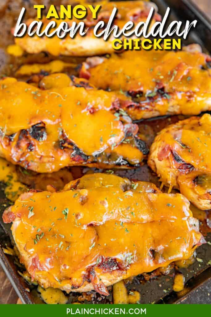 baking sheet with cheese and bacon chicken