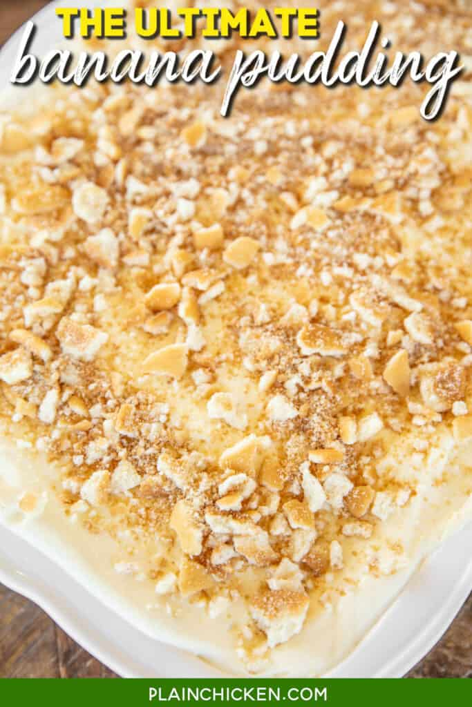 baking dish of banana pudding topped with crushed vanilla wafers