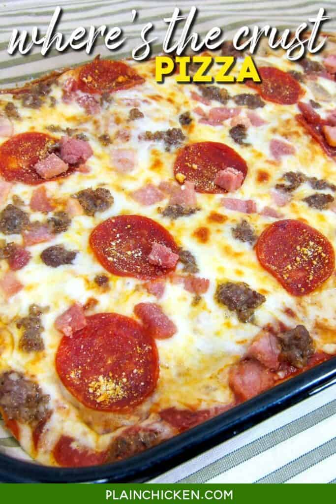 low carb pizza in a baking dish