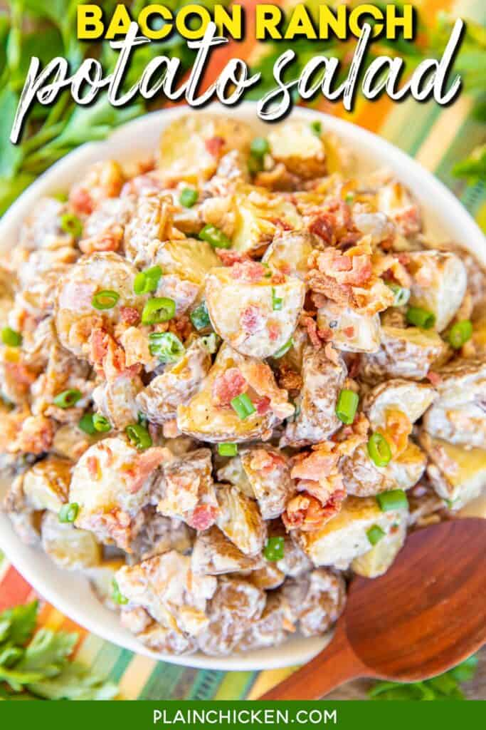 plate of bacon ranch potato salad