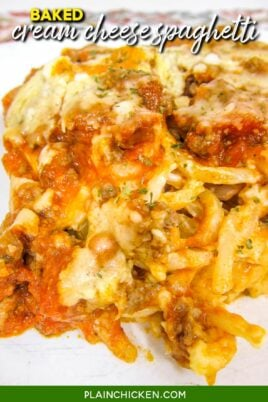 plate of baked spaghetti casserole