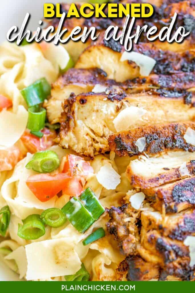 bowl of blackened chicken over pasta with green onions and tomatoes