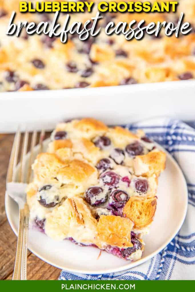 slice of blueberry breakfast casserole on a plate