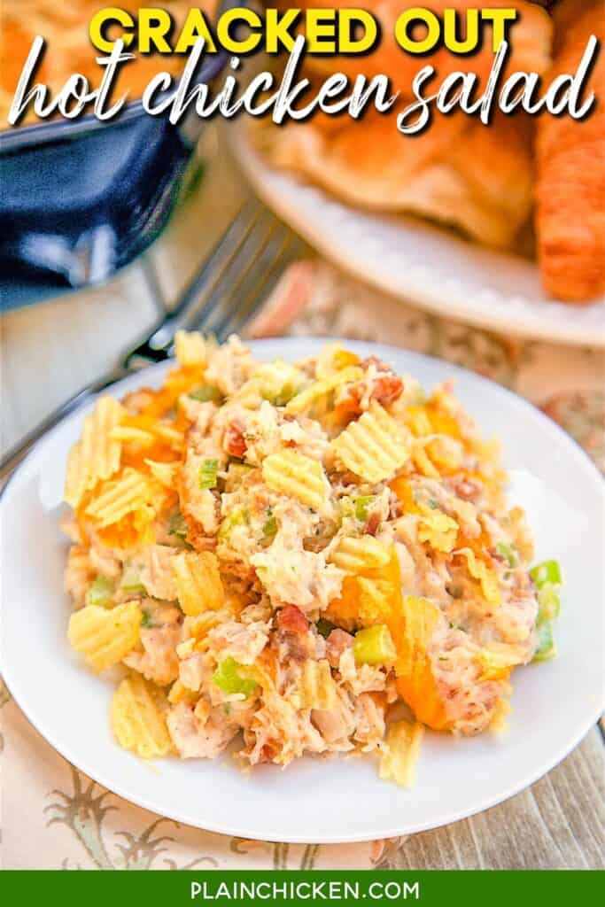 plate of baked chicken salad casserole with potato chips