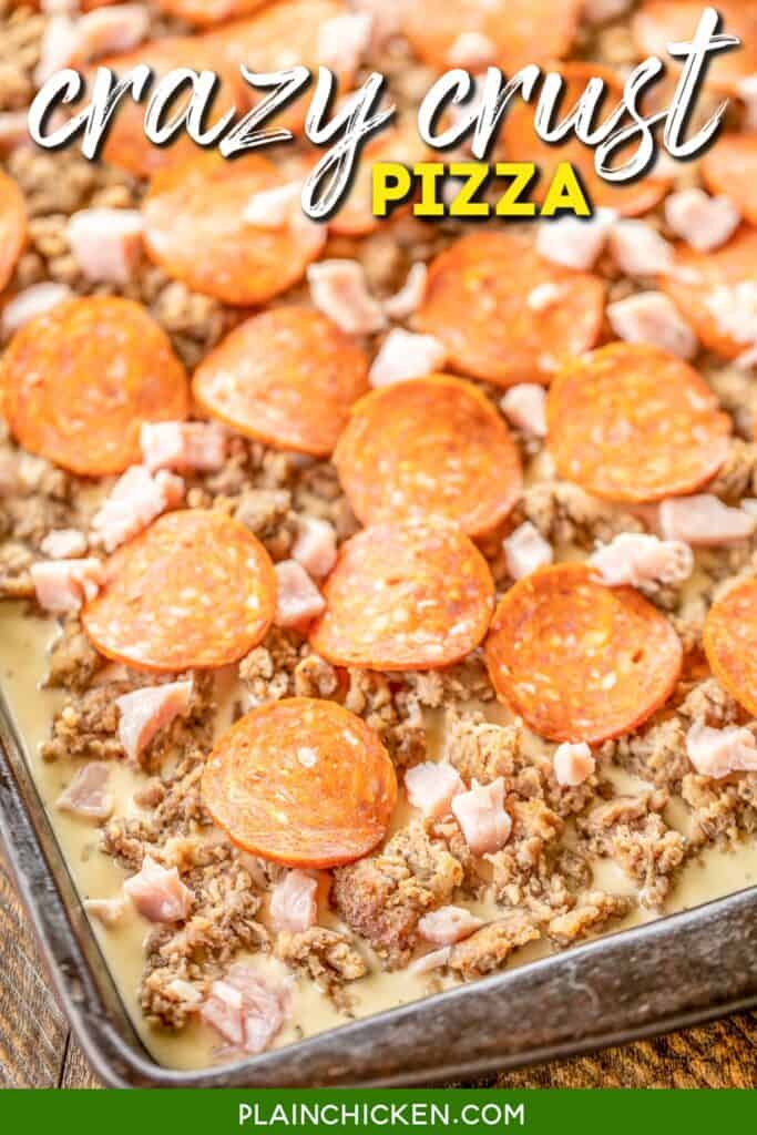 topping pizza crust with sausage and pepperoni