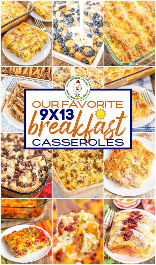 collage of 12 breakfast casserole food photos