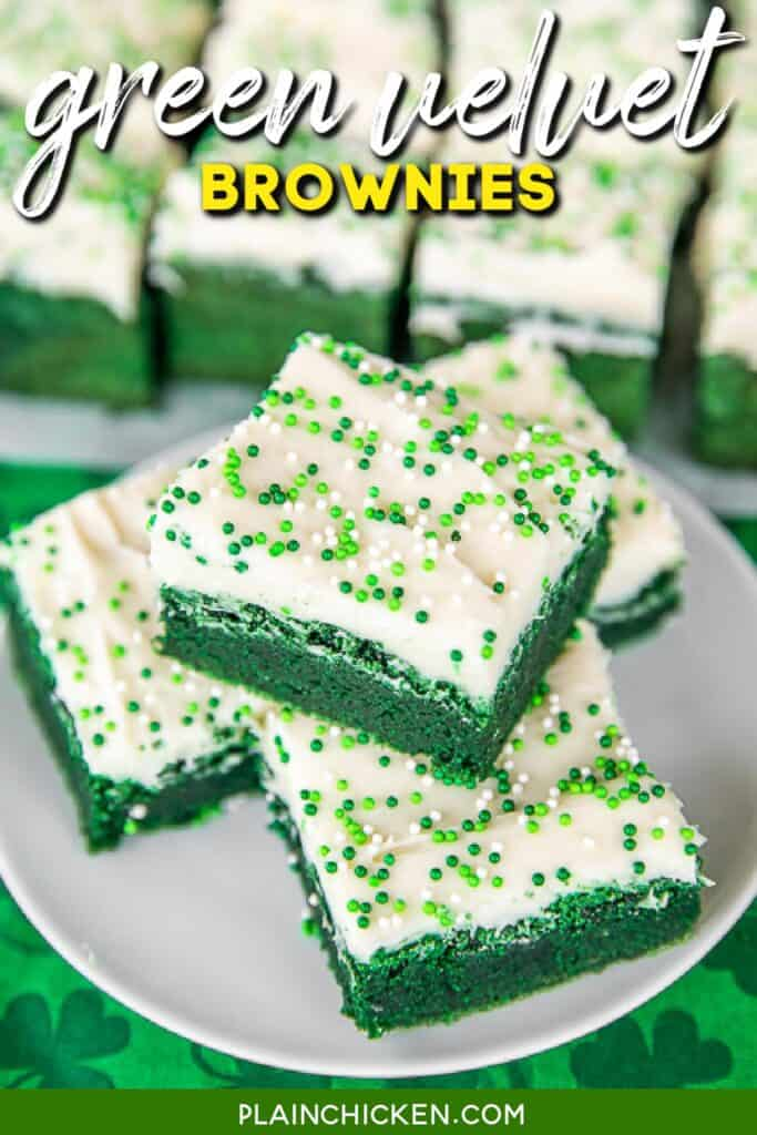 green brownies with cream cheese frosting on a plate