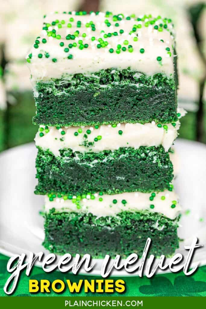 stack of green brownies with cream cheese frosting