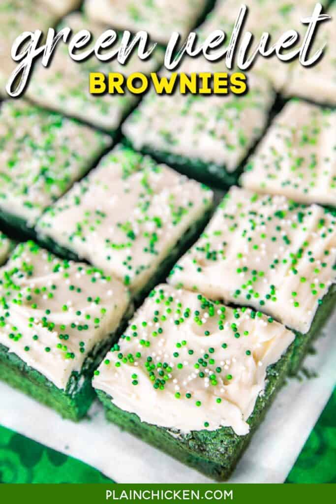 green brownies with cream cheese frosting