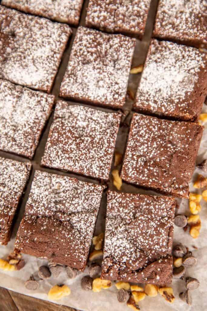 cut brownies on a platter