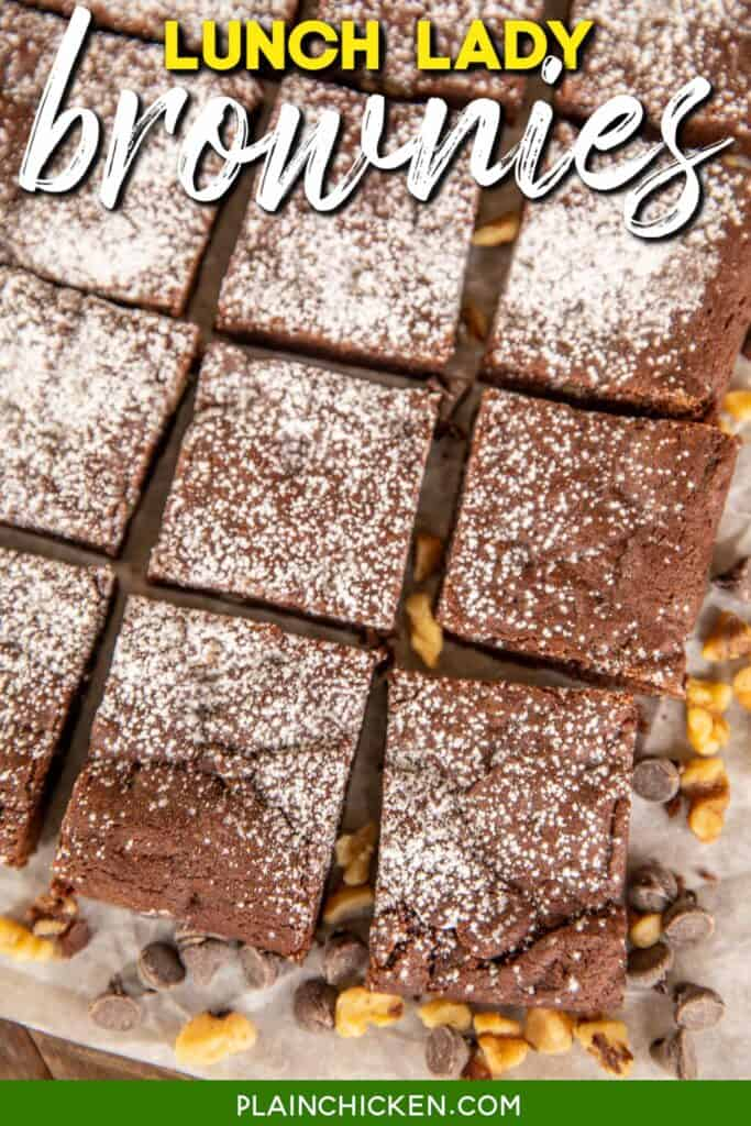 cut up brownies on a platter