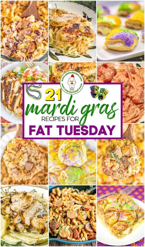 collage of 12 food photos for mardi gras