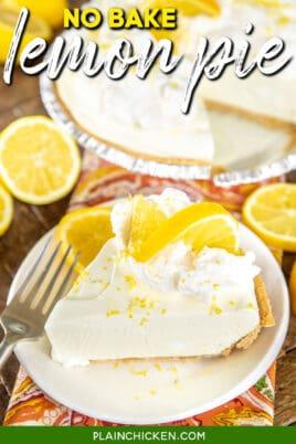 slice of lemon pie with lemon on top