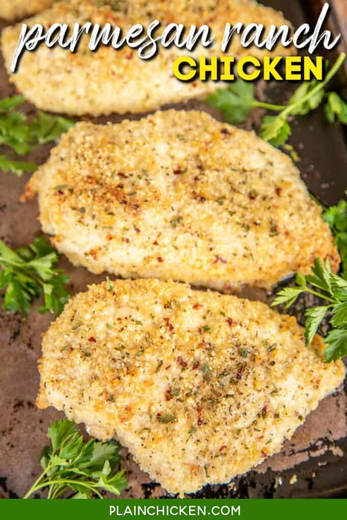 3 pieces parmesan baked chicken on a baking dish