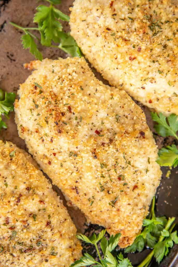 parmesan baked chicken on a baking dish