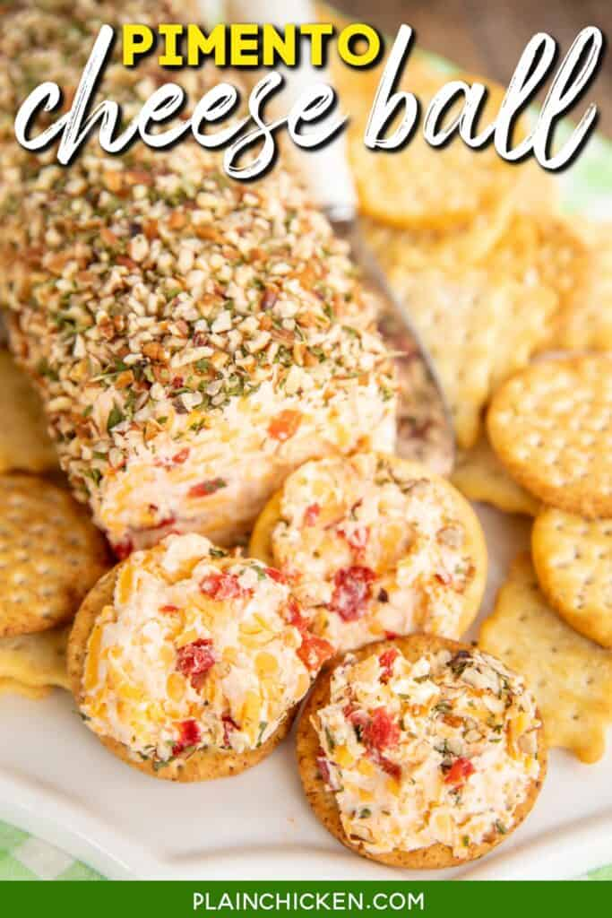 pimento cheese ball on crackers