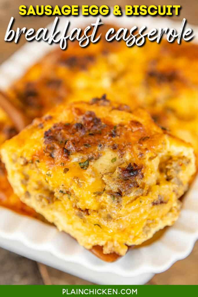 slice of sausage egg & biscuit casserole on a spatula