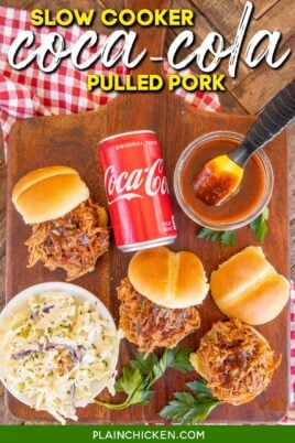 platter of pulled pork, bbq sauce, buns, slaw and can of coca-cola