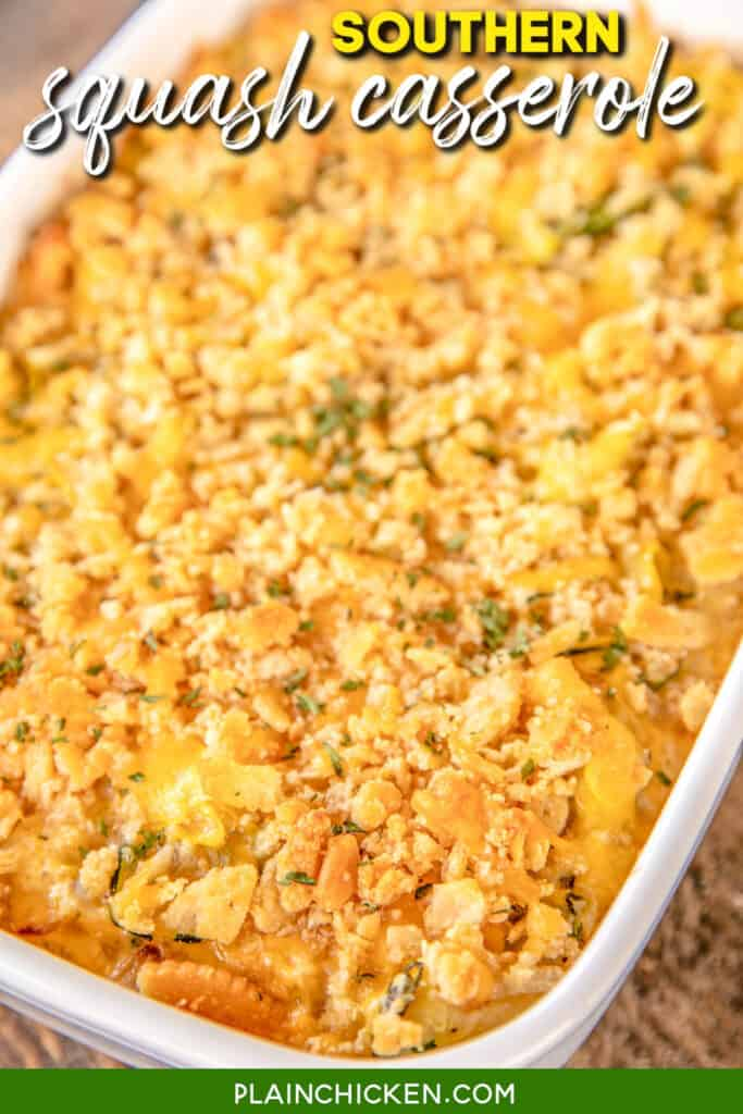baking dish of squash and zucchini casserole