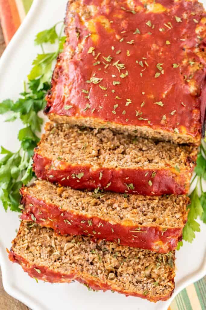 taco meatloaf sliced on a platter