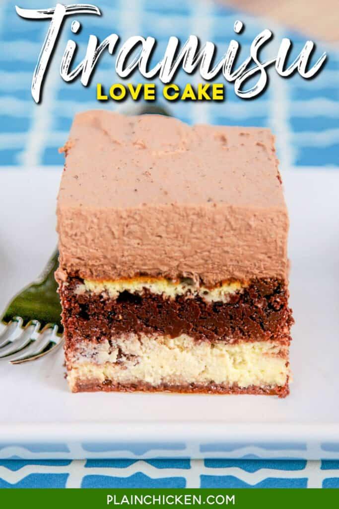 slice of tiramisu cheesecake layer cake