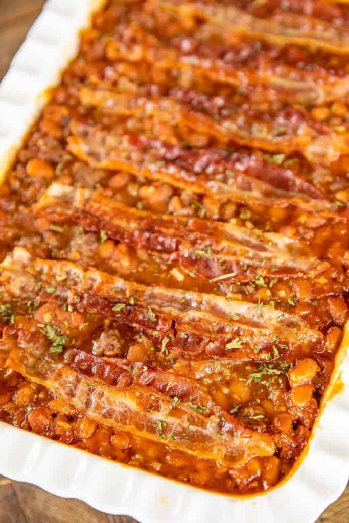 baking dish of ground beef and baked bean casserole