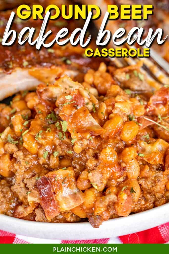 plate of ground beef and baked bean casserole