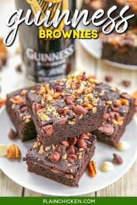 stack of guinness brownies on a plate